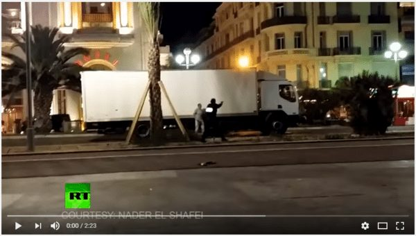 Snip from video broadcast by RT of Nice death truck. (YouTube)