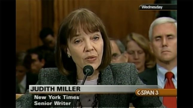 Miller testifying, Pence has her back.