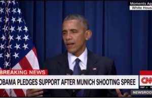 Obama cracks a joke while addressing Munich