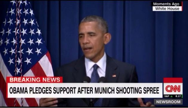 Obama cracks a joke while addressing Munich