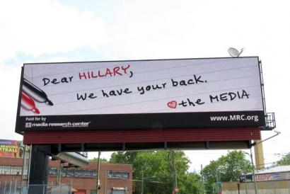 "Billboard: ""Dear Hillary, We have your back. The media"""