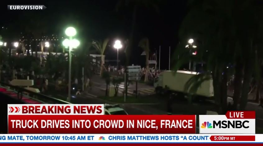 truck runs over Bastille Day revelers in Nice, France.