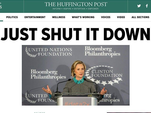 Even the screamingly liberal HuffPo is calling for the Clinton Foundation to be shut down. (Photo: LiveLeak.com)