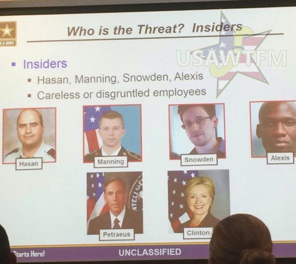 Hillary Clinton listed as insider security threat