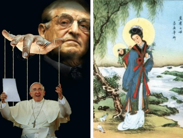 The Soros puppet dances while conservative Catholics dig in their heels. (Photos: Pinterest)