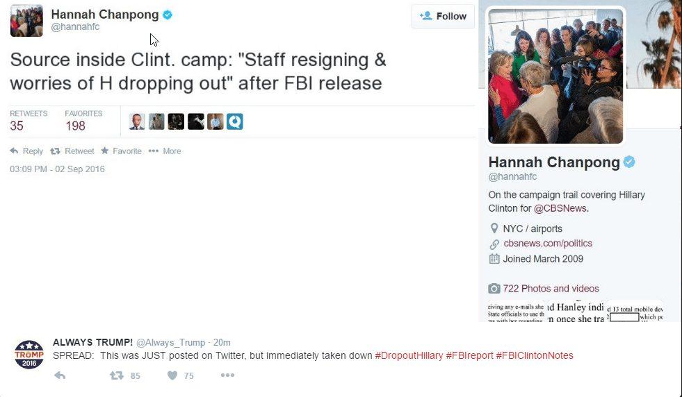 tweet from CBS' Hannah Chanpong