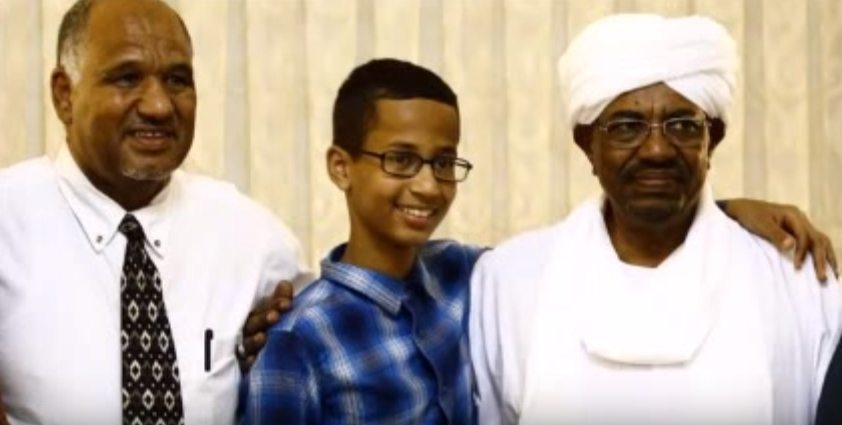 Left: Mohamed Mohamed (Father of Clock-Boy); Center: Ahmed Mohamed (Clock-boy); Right: War Criminal, Sudanese President Omar al-Bashir.
