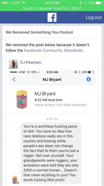 CJ Pearson Facebook ban