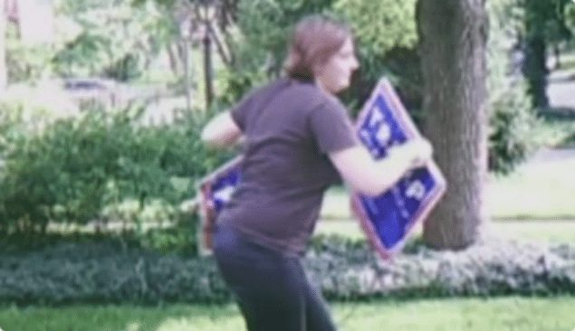 Woman steals Trump signs, gets instant karma