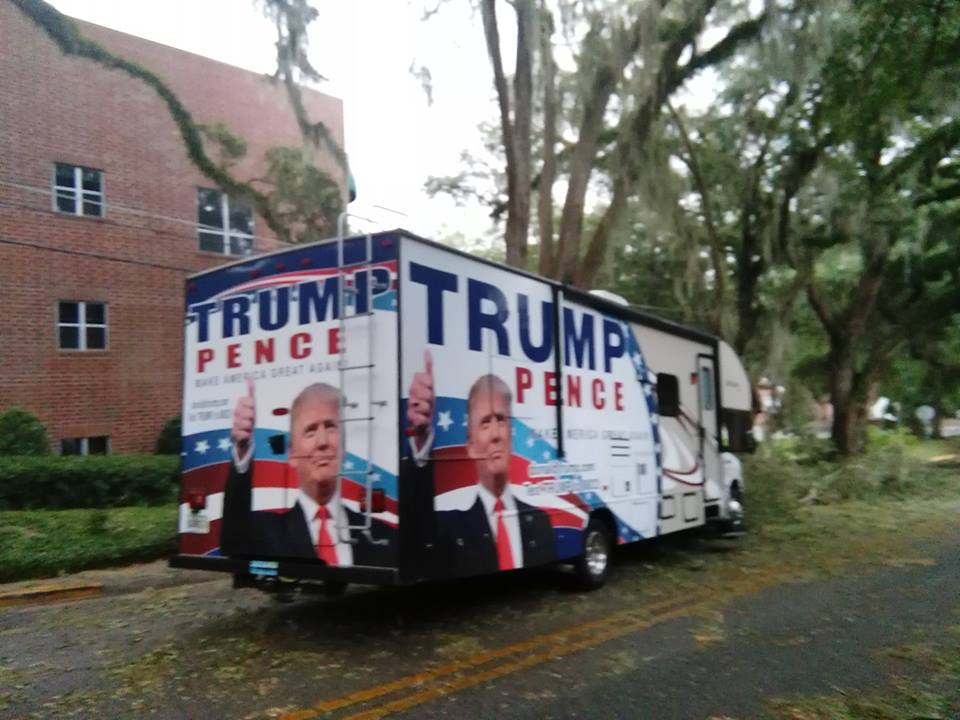Trump campaign van gives aid to hurricane-ravaged Floridians