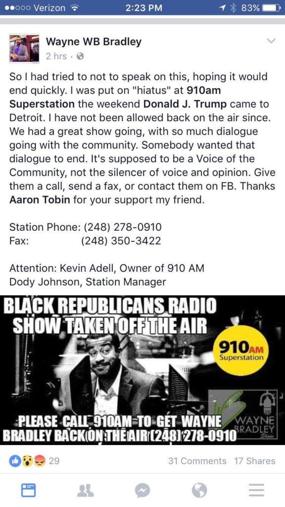 radio talk show host loses job after Trump comes to Detroit