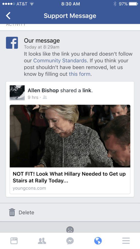 Facebook - sick Hillary