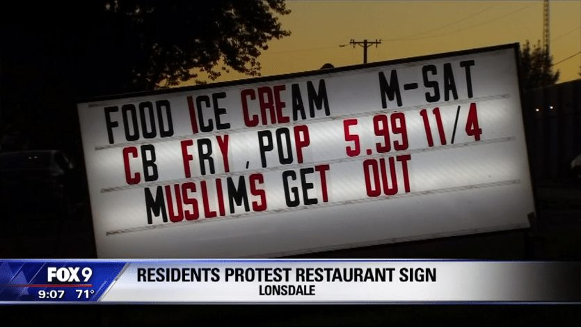 Sign: Muslims get out
