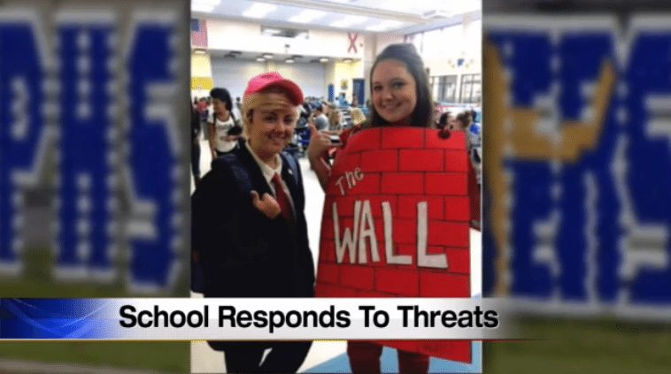 Teens get death threats for dressing up as Trump, wall