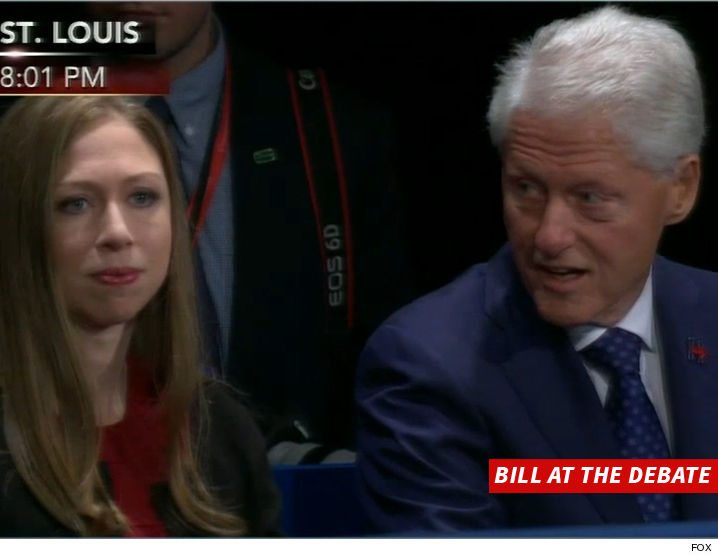 Chelsea and Bill Clinton react the the thrashing Hillary received from The Donald. (FNC)