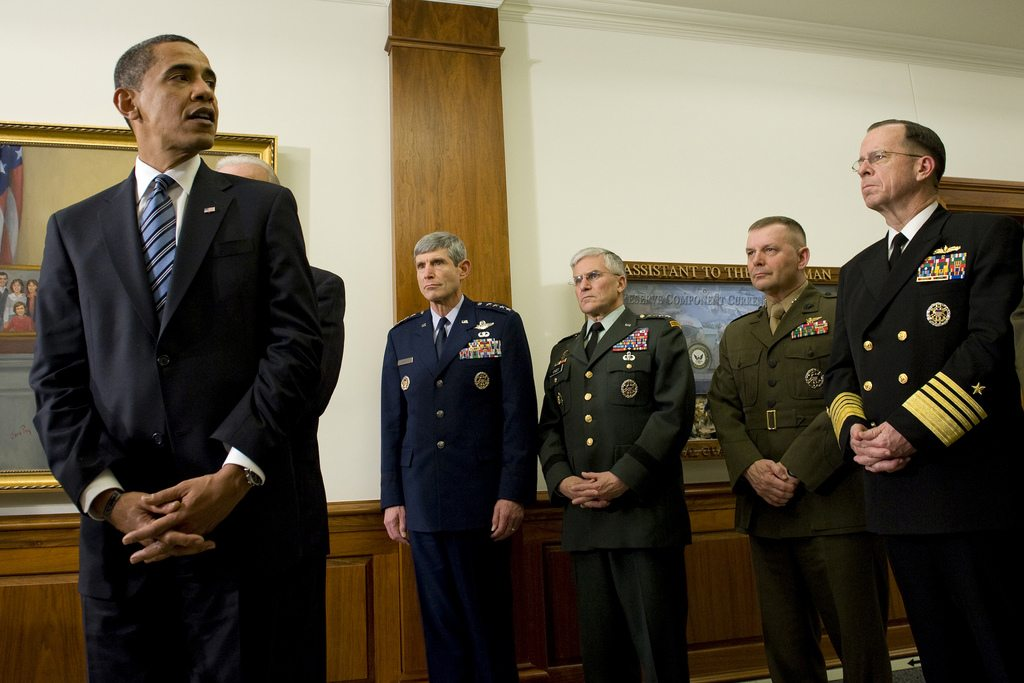 Obama with his favorite general - Cartwright 2d from right. (Flickr)