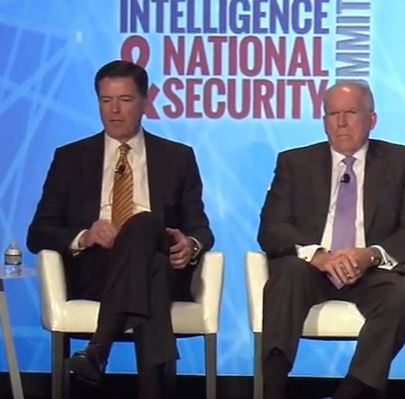 FBI Director James Comey (L) and CIA Director John Brennan (R) at the 2016 Intelligence and National Security Summit