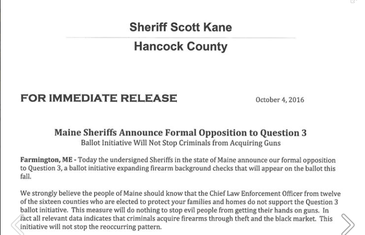 Screen snip of hancock County sheriff's letter opposing Maine gun control initiative. (Source; Facebook)