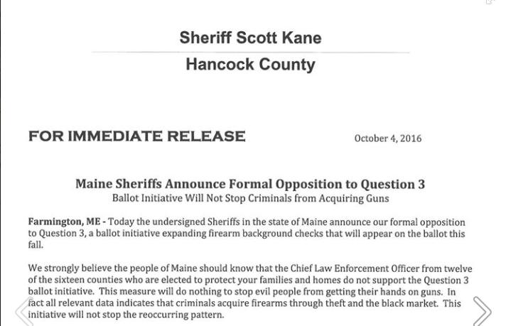Screen snip of hancock County sheriff's letter opposing Maine gun control initiative. (Source; Facebook)
