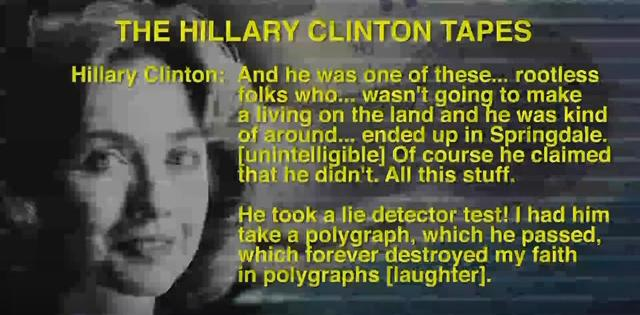 Hillary Clinton caught on tape laughing how her rapist-client beat the lie detector. (Youtube)