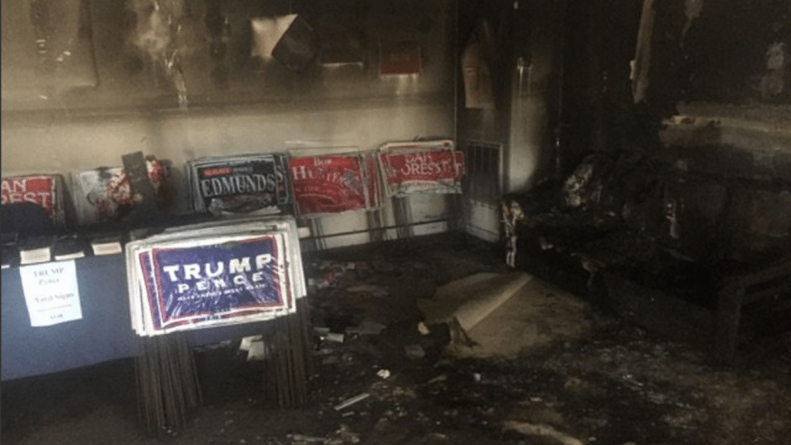 The burned-out interior of the Charlotte office. (Republican Party of NC)
