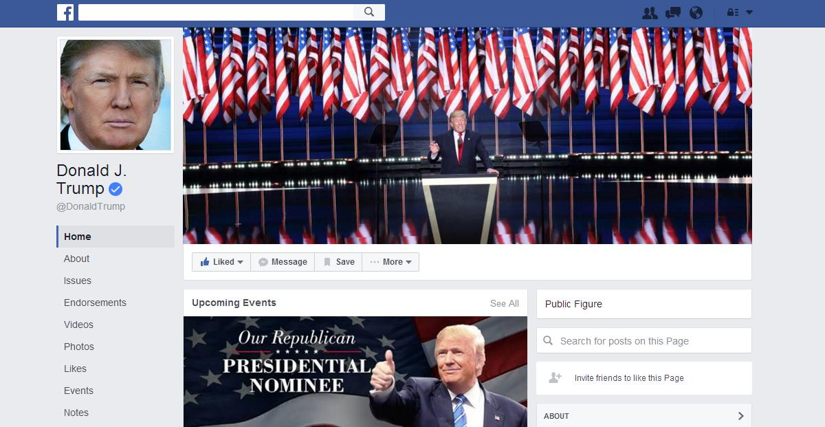 Donald Trump's official Facebook site.