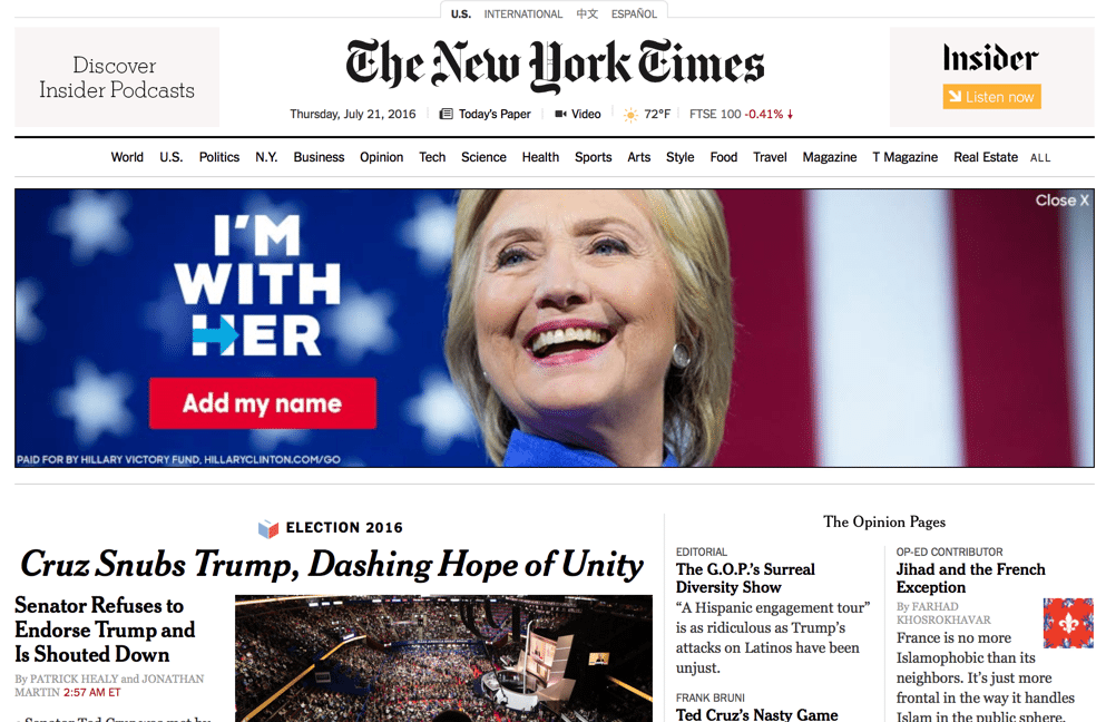 Typical New York Times online ad. (Twitter)