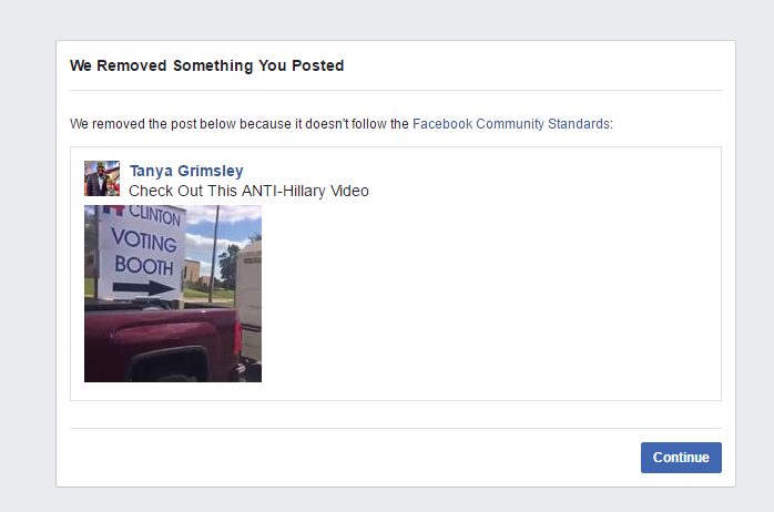 Facebook censors anti-Hillary video