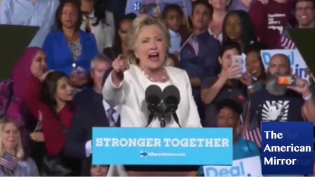 Hillary Clinton shrew unstable unhinged scream protester Fusion GPS Russia dossier
