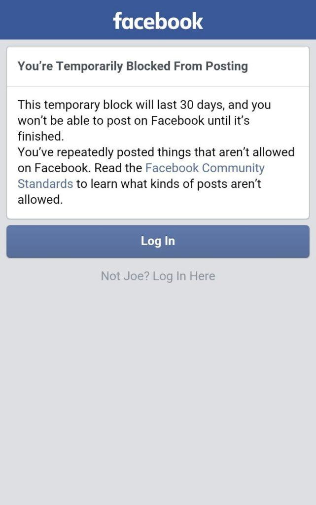 Facebook ban flag