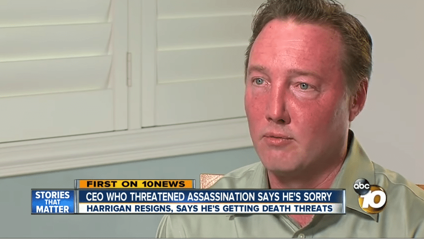 Matt Harrigan threaten to murder trump hiding