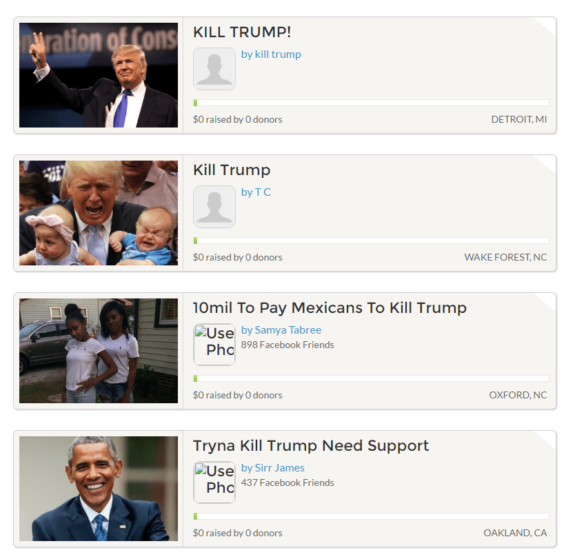 gofundme kill trump