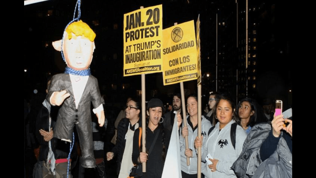 tolerant left liberals hang Trump in effigy