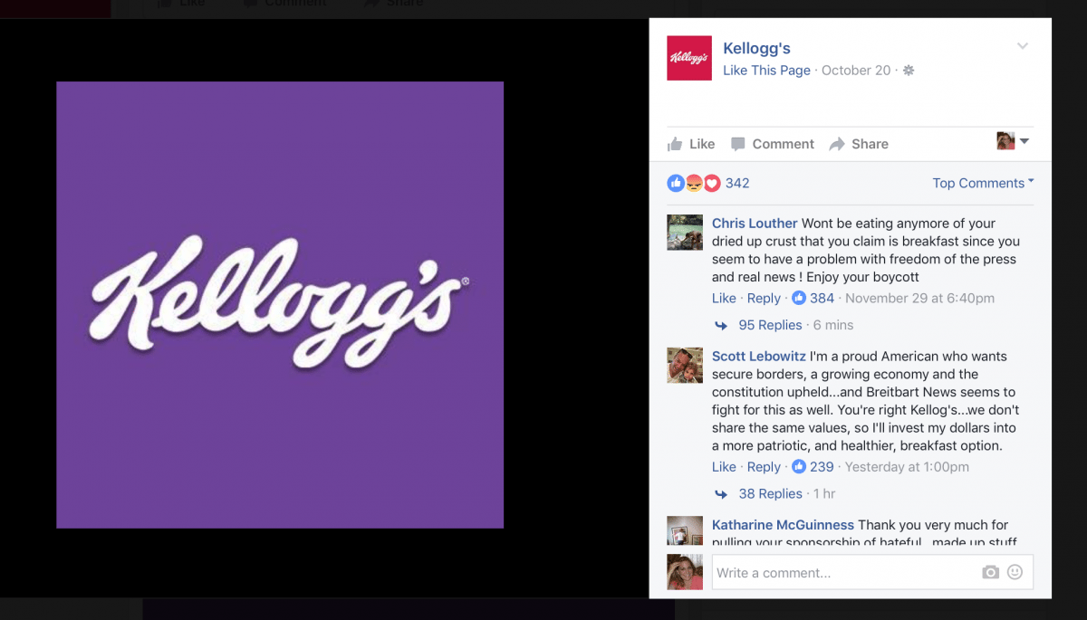 Screen Shot Kelloggs Facebook Page