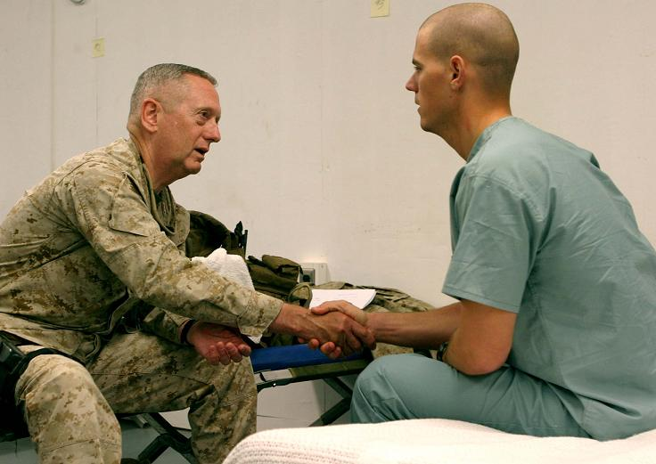General Mattis checks on one of his wounded warriors. (Wikipedia-Commons)