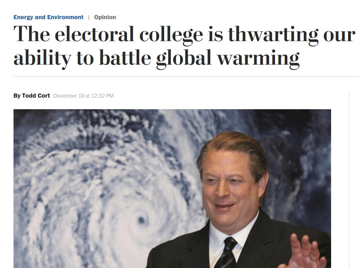 Washington Post electoral College global warming