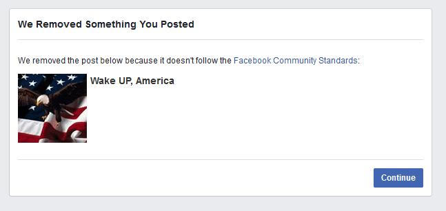 Facebook bans US flag