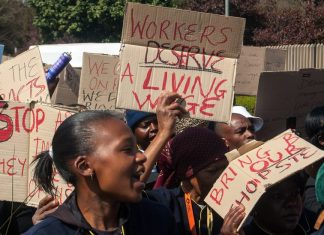 living wage protesters
