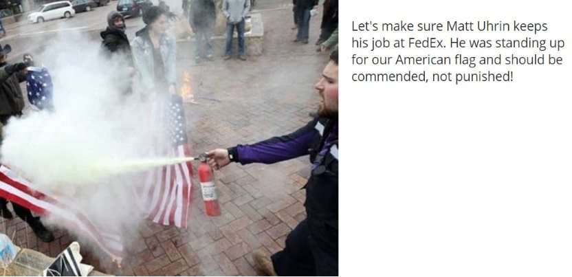 Petition for FedEx Driver Halting Flag Burning Protesters Launched