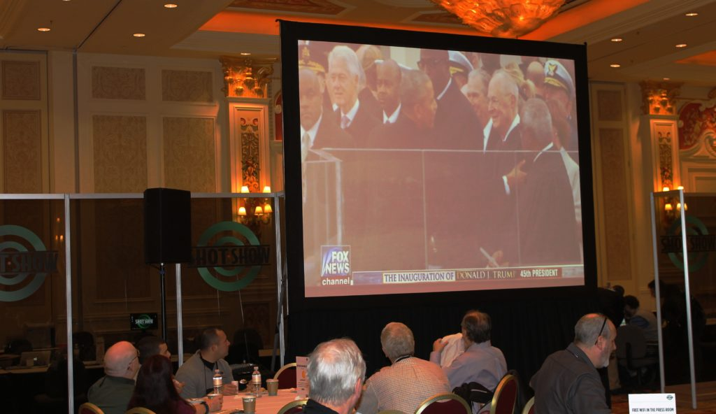 Firearms journalists attending the 2017 SHOT Show watched Friday morning in Las Vegas as Donald Trump was inaugurated.