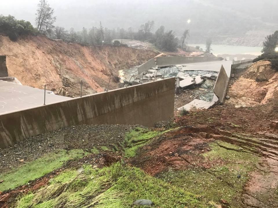 Damaged spillway at the Oroville Dam. (Facebook)