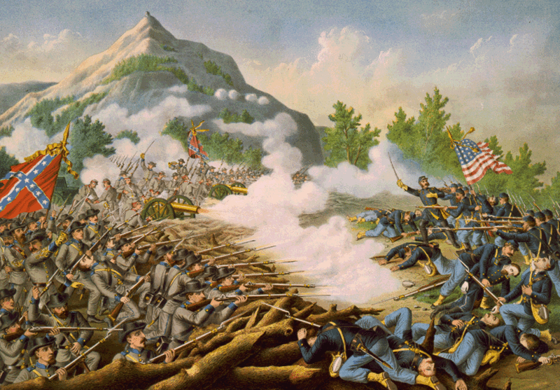 Confederate and Federal troops battle in Georgia. (Wiki)