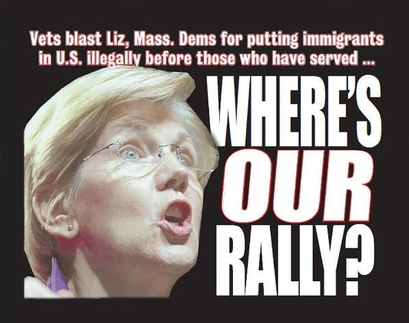 """Massachusetts veterans ask, """"Where's your rally for US Veterans, Senator Warren?"""" (Twitter)"""