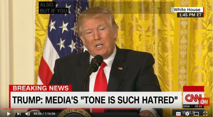 "President Trump ripped the news media Thursday for ""fake news"" and assertions that his administration is in chaos. (Screen capture: YouTube, CNN)"