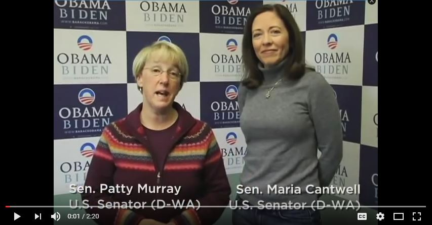 "Senators Patty Murray and Maria Cantwell appeared in a video ""Voting Tips for Washington State."" (YouTube)"