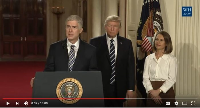 Judge Neil Gorsuch has been nominated to the U.S. Supreme Court by President Donald Trump. (Screen capture YouTube, White House)