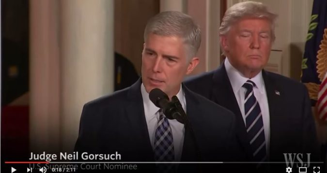 Judge Neil Gorsuch was nominated to the Supreme Court by President Donald Trump. (Screen capture: YouTube, Wall Street Journal)