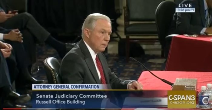 "Attorney General Jeff Sessions (shown during confirmation hearings) is cracking down on ""sanctuary cities."" (Screen capture, YouTube, CSPAN2)"