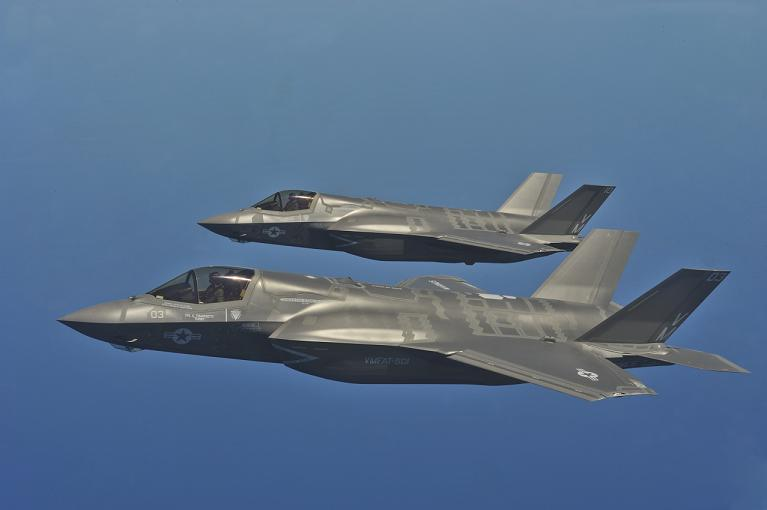 The latest in the Marines inventory, a pair of F-35 Lightning II Joint Strike Fighters.