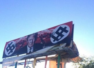 Artist Paints an Anti-Trump billboard along Phoenix Roadway